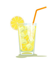 Glass of lemonade. Glass of lemon cocktail with straw. Vector illustration  isolated on white background