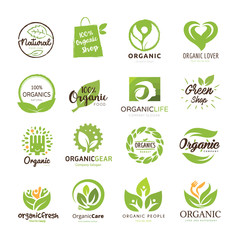 Organic food logo, set for food and drink logo, restaurants and organic products. Green and eco care logo.vector illustration.
