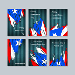 Puerto Rico Patriotic Cards for National Day. Expressive Brush Stroke in National Flag Colors on dark striped background. Puerto Rico Patriotic Vector Greeting Card.