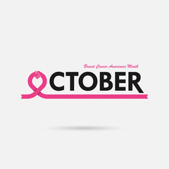 Breast Cancer October Awareness Month Campaign Background.Women health vector design.Breast cancer awareness logo design.Breast cancer awareness month icon.Realistic pink ribbon.Pink care logo.