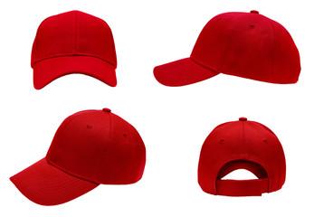Obraz blank red baseball cap 4 view on white background - fototapety do salonu