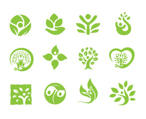 Organic food logo symbol, set for eco care logo, people and organic products.vector illustration.