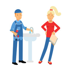Young woman standing with proffesional plumber character repairing faucet tap, plumbing service vector Illustration