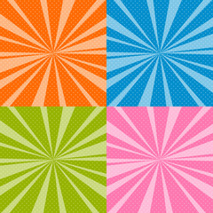 Set of Retro Pop Art Background with Sunbeam, Dots on Colorful Background and the Sun's Rays , Vector Illustration