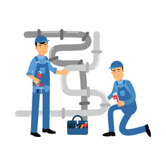 Proffesional plumber men characters repairing and fixing water pipes, plumbing service vector Illustration