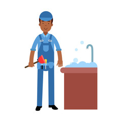 Proffesional plumber character cleaning drain in the sink using plunger, plumbing service vector Illustration