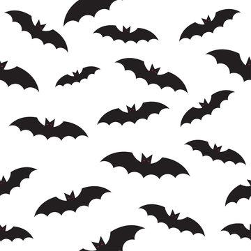 black bat seamless pattern on white