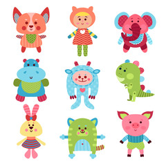 Cute cartoon animals and baby toys set of colorful vector Illustrations