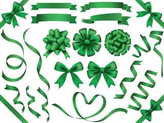 リボン素材セット グリーン