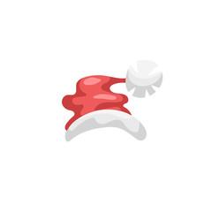 Cartoon style Santa Claus hat icon. Traditional xmas symbol. Vector simple gradient illustration.