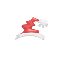 Cartoon style Santa Claus hat icon. Traditional xmas costume symbol. Vector simple gradient illustration.