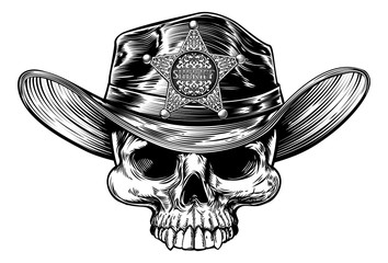 Sheriff Star Badge Skull Cowboy Hat