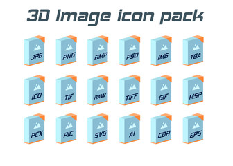 Image file formats. Photo and graphic file type 3d icons.