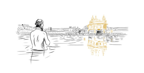 Hand drawn sketch of Golden Temple Amritsar India in vector illustration.