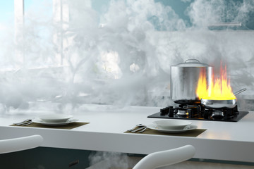 Kitchen on fire with a lot of smoke 3d rendering
