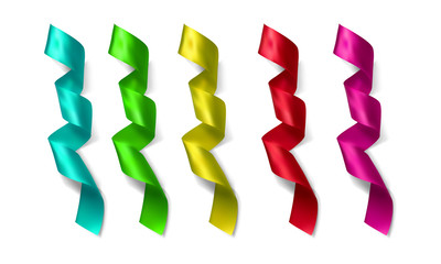 Realistic silk vector ribbon set