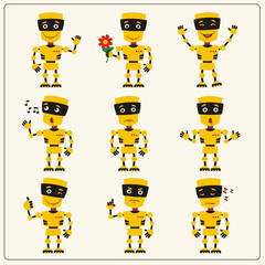 Set emoticon yellow robot with different emotions in cartoon style. Collection isolated robots in various poses.