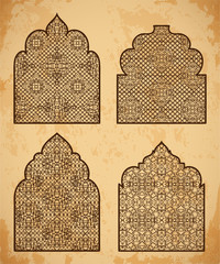 Collection of arabic windows with traditional islamic ornament. Design concept for greeting card, banner, poster, print. Vector illustration