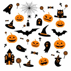 Happy Halloween design elements with ghost pumpkin, castle, bat, hat, spider web for greeting card, poster, banner, Vector illustration icon