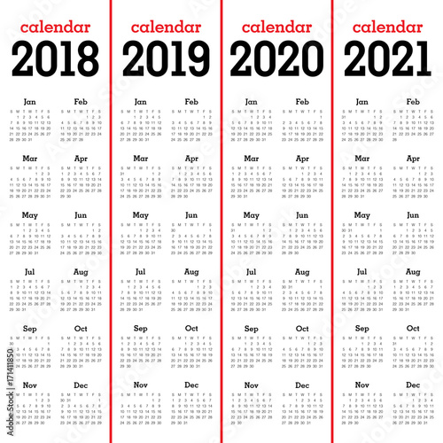 Year 2018 2019 2020 2021 Calendar Vector Stock Image And Royalty