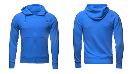 Blank blue male hoodie sweatshirt  with clipping path, mens pullover for your design mockup and template for print, isolated white background.