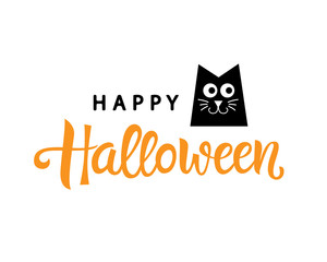 Happy Halloween typography poster with handwritten calligraphy text and black cat