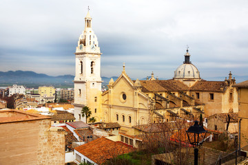 View on city and church in Xativa