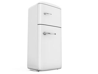Retro fridge isolated on white bacground 3d render
