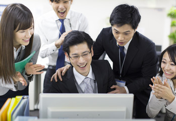 Businesspeople excited
