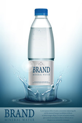 Mineral water realistic Bottle container mockup template. Transparent Drinking water Bottle with your brand for ads or magazine design. 3d vector illustration.