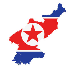 North Korea Map Flag Isolated