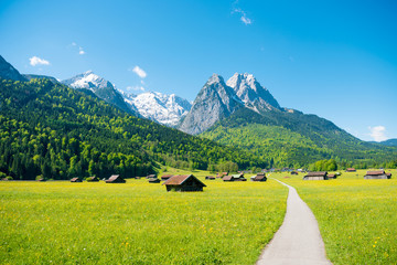 Mountain panorama in front of blue sky (Garmisch - Partenkirchen) Wall mural