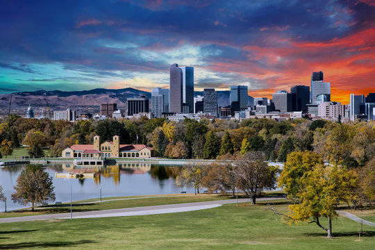 Denver Skyline and Mountains Beyond Lake