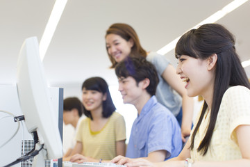 College Students Studying in Computer Lab