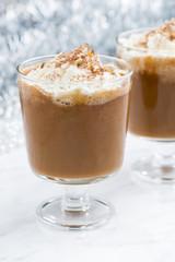 festive pumpkin latte, closeup, vertical