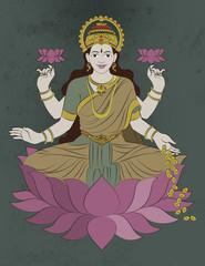 Stock Illustration of Hindu mythological Godess of wealth known as Ma Laxmi or Lakshmi