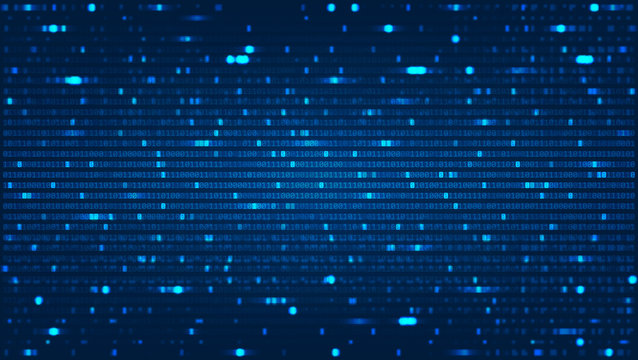 Abstract Background with Binary Computer Code. Data backdrop with Blur Effect. Vector Illustration with concept of Programming. Technology Algorithm in Decryption and Encryption. Coding concept.