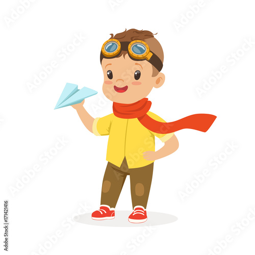 dee9d67240 Cute little boy in pilot glasses playing with paper airplane vector  Illustration