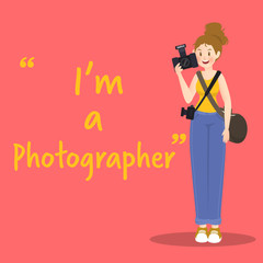 Photographer character with camera on red background