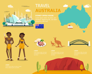 Map of the Australia and landmark icons for traveling