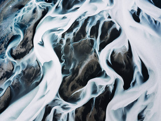 Aerial view of river in Iceland