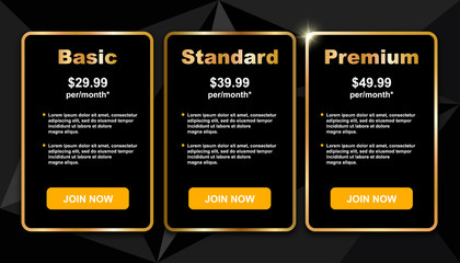 Tariff and prices template, vector illustration. Elegant black price list, gold frame, sparkle on geometric trendy triangles background. Package cost compare conceptual banner.