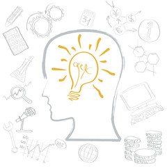 Vector light bulb in head . Concept of idea for the work, start up