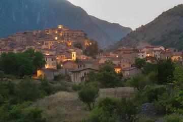View of Italian Villalago old city in province of L'Aquila the Abruzzo region