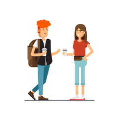 Vector flat illustration of young couple