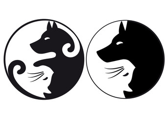 Yin yang symbol cat and dog, vector