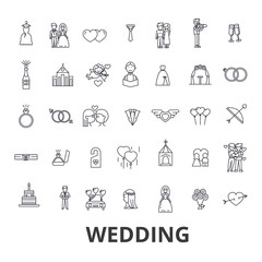 Wedding, invitation, bride, couple, rings, cake, groom, love, flowers, relations line icons. Editable strokes. Flat design vector illustration symbol concept. Linear signs isolated on white background