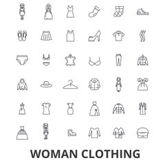 Woman clothing, clothes, fashion, girl, dress, shopping, closet, shoes, style line icons. Editable strokes. Flat design vector illustration symbol concept. Linear signs isolated on white background