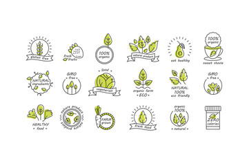 Vector set of organic products labels and badges - collection of different icons and illustrations related to fresh and healthy food