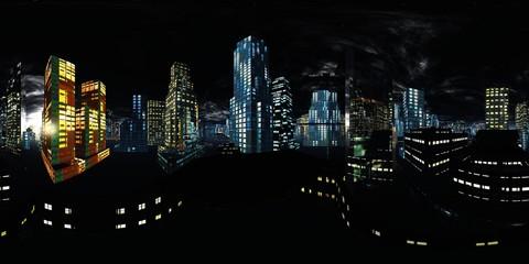 HDRI. Equirectangular projection. Spherical panorama., Night city, Cityscape, Environment map